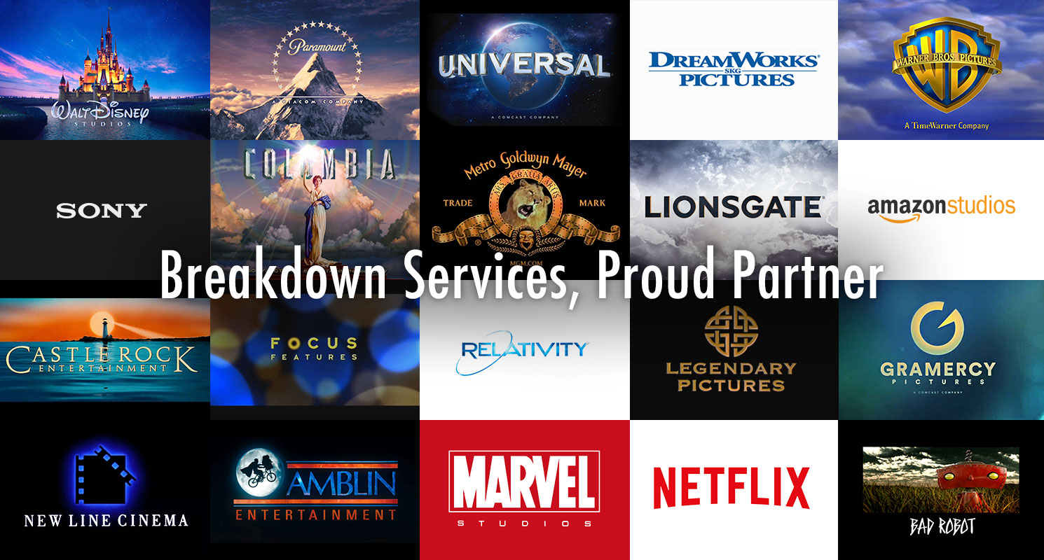 Breakdown Services is a proud partner with film studios around the world.